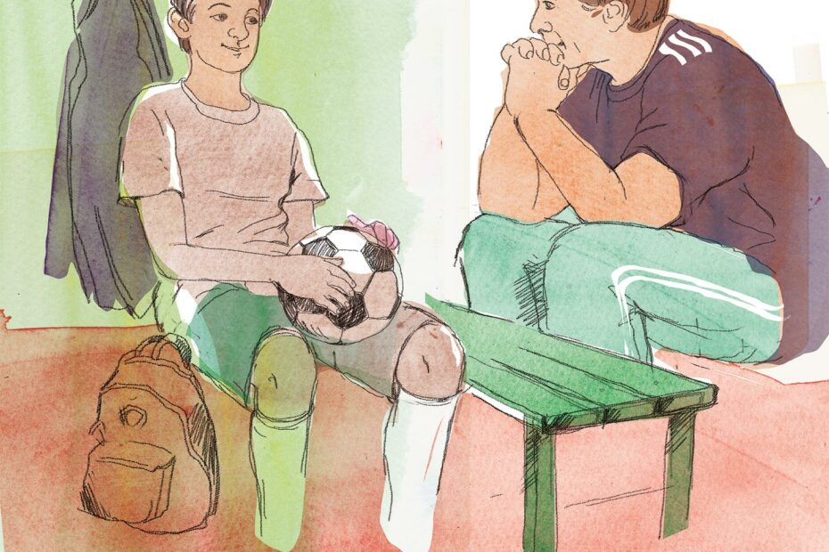 Ett barn pratar med en vuxen